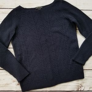 Ann Taylor Cashmere Wool Blend Navy Knit Sweater